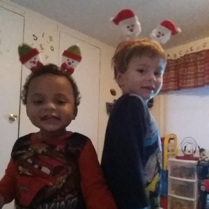 Getting ready for Christmas -- Sam and Mason